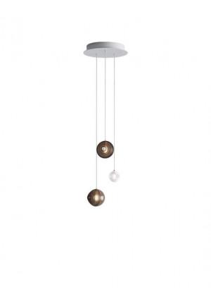 Bomma Dark & Bright Star Kronleuchter mit 3 Leuchten multicolour, 2 x Large braun, 1 x Small weiß
