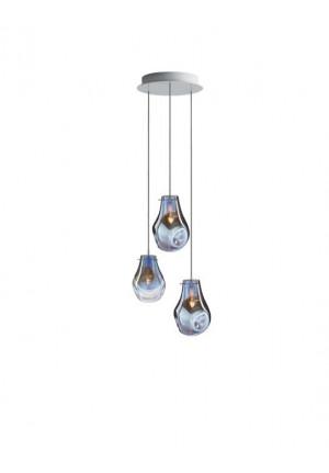 Bomma Kronleuchter mit 3 Leuchten blau