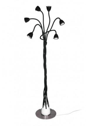 Less'n'more Athene Standleuchte 6 A-6SL Köpfe schwarz, flexible Arme Textil schwarz