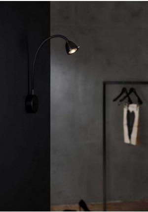 Less'n'more Athene Wandleuchte A-BWL2 schwarz, flexibler Arm Textil schwarz