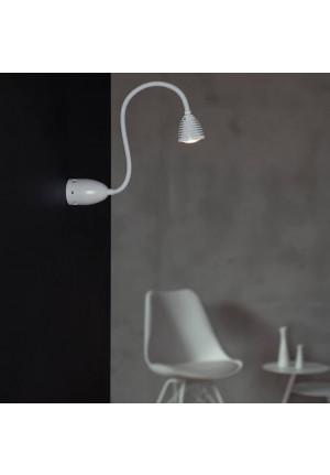 Less'n'more Athene Wand- / Deckenleuchte A-BDL2 weiß, flexibler Arm Textil weiß