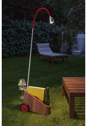 Less'n'more Bookowski Akkuleuchte BO-A Aluminium, flexibler Arm Textil rot (Räder in Schwarz-Rot auf Anfrage)