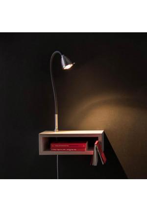 Less'n'more Eichendorff Athene Nachttisch EI-A Aluminium, flexibler Arm Textil schwarz