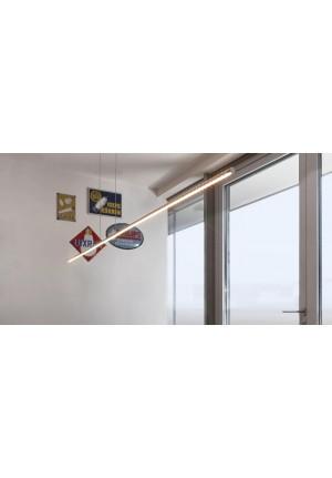 Steng Ax-LED Pendelleuchte Horizontal 123cm Nickel satiniert