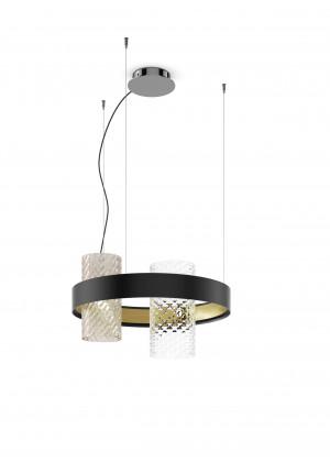 Vistosi Armonia SP 50 Version 9, Gläser rauchfarbig/Kristall, Ring schwarz/Messing