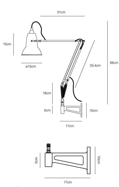 Anglepoise Original 1227 Lamp with Wall Bracket Grafik