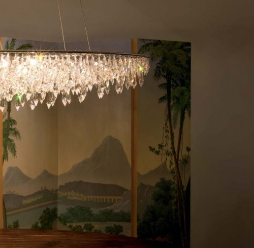 Anthologie Quartett Crystal Rain Pendelleuchte oval durchmesser 120 cm