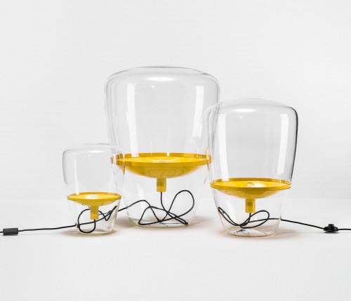 Brokis Balloons Medium transparent, Reflektor gelb (auf der rechten Seite)