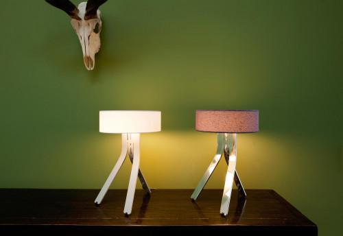 Byok Fino Schirm elfenbein, Fuß Aluminium matt und Schirm lila, Fuß Aluminium poliert