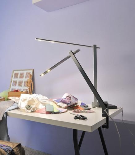 Byok Nastrino Pico Tischklemme schwarz matt und Tischfuß alu matt