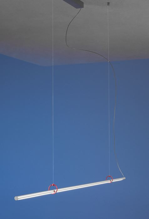 Escale Slimline Pendelleuchte 150 cm mit roten Clips