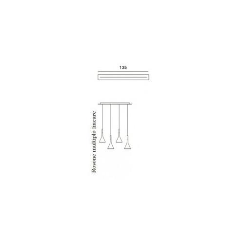 Foscarini Aplomb Sospensione länglicher Mehrfach-Baldachin 135 cm Grafik
