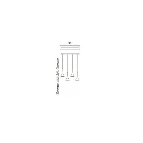 Foscarini Aplomb Sospensione länglicher Mehrfach-Baldachin 90 cm Grafik