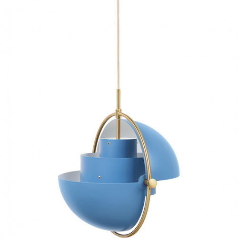 GUBI Multi-Lite Messing Schirm blau