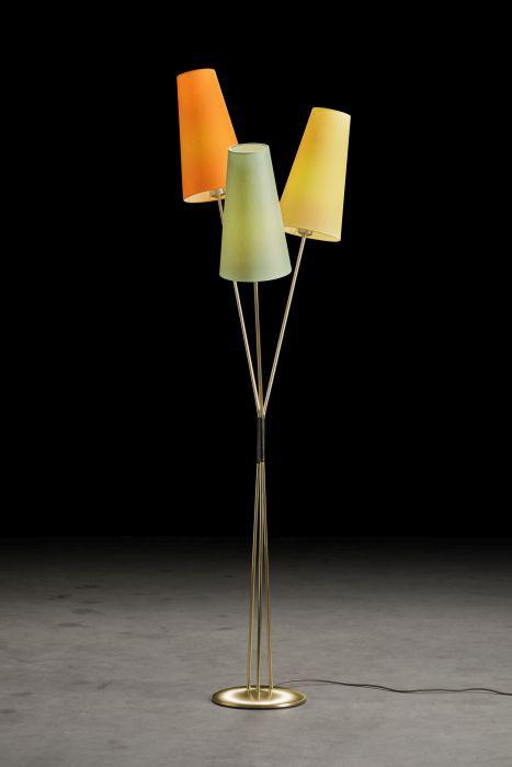 Holtkötter Fifties Version 9 Messing, Schirme mint, orange und gelb