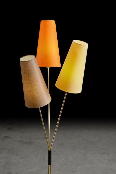 Holtkötter Fifties Version 10 Messing, Schirme orange, gelb und taupe