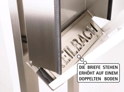 Keilbach - Briefkasten Glasnost Glas Klassik geöffneter Zustand