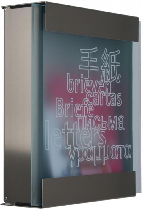 Keilbach - Briefkasten Glasnost bedrucktes Glas Ausführung letters
