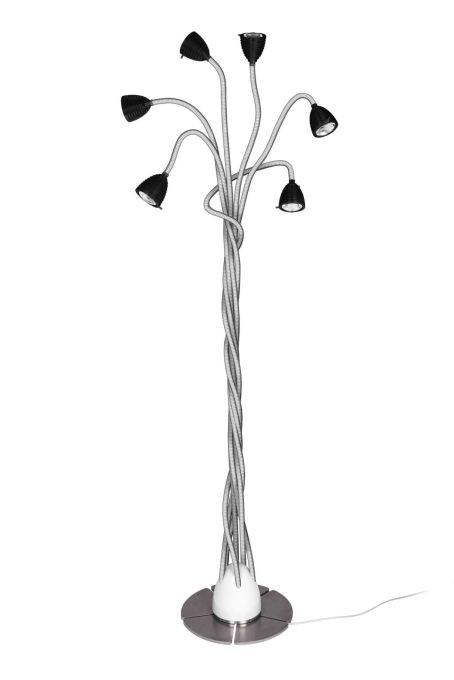 Less'n'more Athene Standleuchte 6 A-6SL Köpfe schwarz, flexible Arme Aluminium