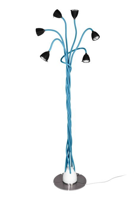 Less'n'more Athene Standleuchte 6 A-6SL Köpfe schwarz, flexible Arme Textil blau