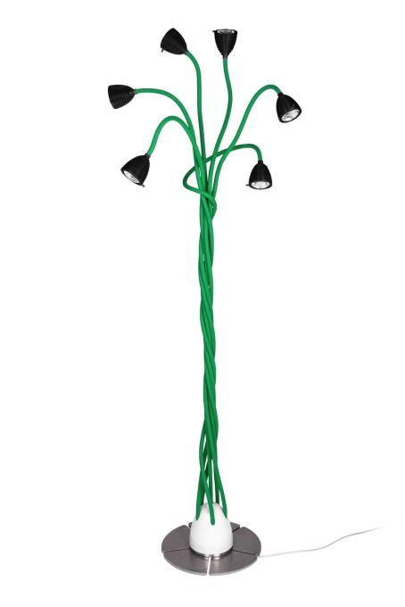 Less'n'more Athene Standleuchte 6 A-6SL Köpfe schwarz, flexible Arme Textil grün