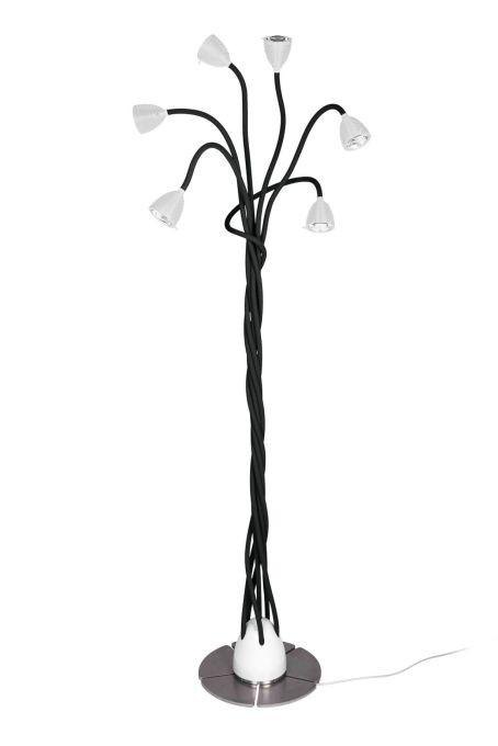 Less'n'more Athene Standleuchte 6 A-6SL Köpfe weiß, flexible Arme Textil schwarz