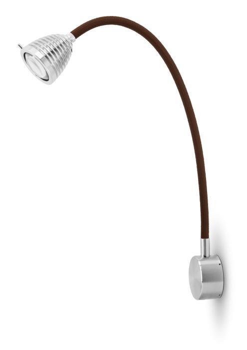 Less'n'more Athene Wandleuchte A-MWL2 Aluminium, flexibler Arm Textil braun
