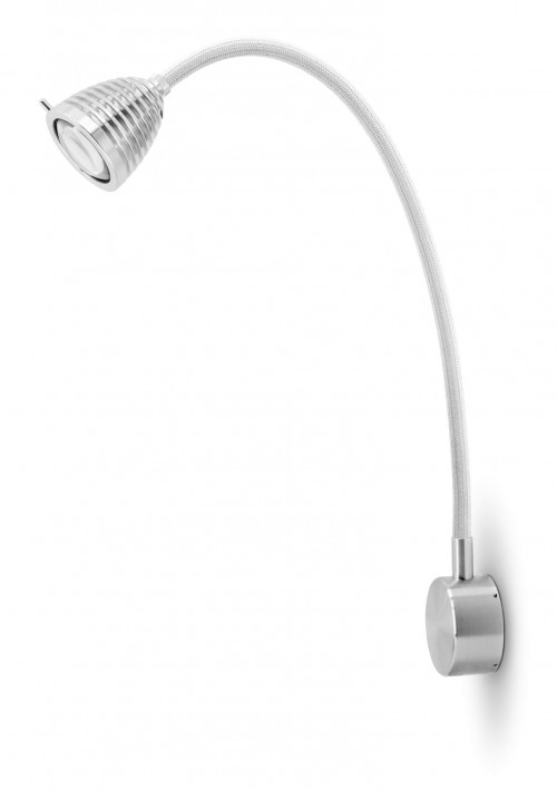 Less'n'more Athene Wandleuchte A-MWL2 Aluminium, flexibler Arm Textil weiß