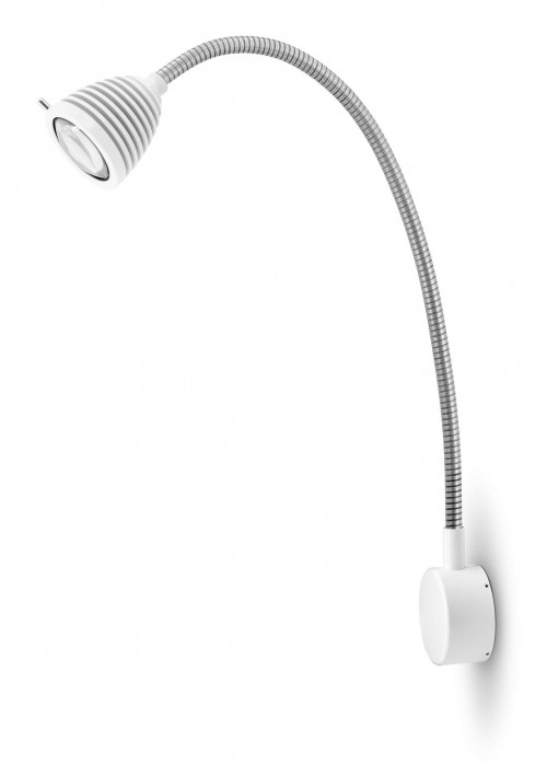 Less'n'more Athene Wandleuchte A-MWL2 weiß, flexibler Arm Aluminium