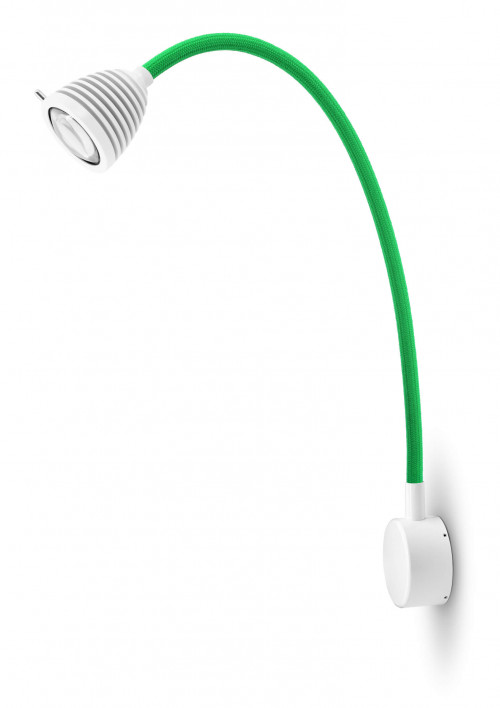 Less'n'more Athene Wandleuchte A-MWL2 weiß, flexibler Arm Textil grün