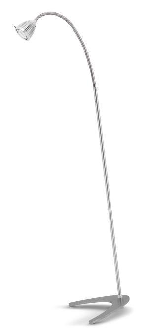 Less'n'more Athene Standleuchte A-SL Aluminium, flexibler Arm Aluminium