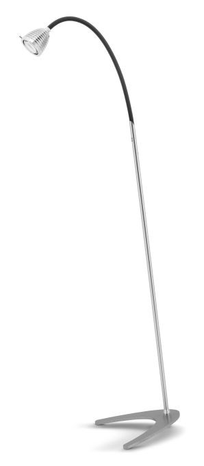 Less'n'more Athene Standleuchte A-SL Aluminium, flexibler Arm Textil anthrazit