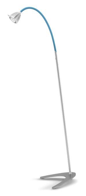 Less'n'more Athene Standleuchte A-SL Aluminium, flexibler Arm Textil blau