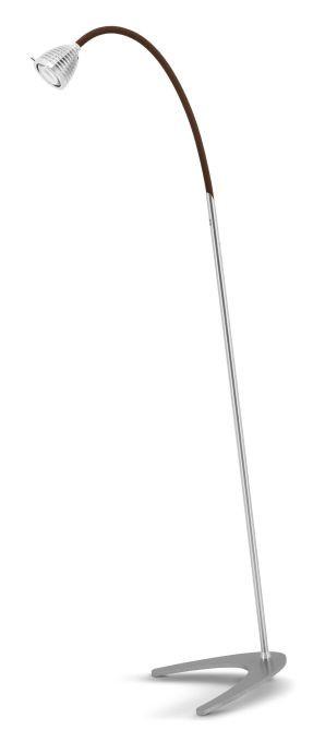 Less'n'more Athene Standleuchte A-SL Aluminium, flexibler Arm Textil braun
