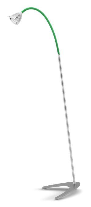 Less'n'more Athene Standleuchte A-SL Aluminium, flexibler Arm Textil grün