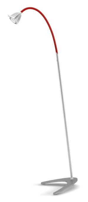 Less'n'more Athene Standleuchte A-SL Aluminium, flexibler Arm Textil rot