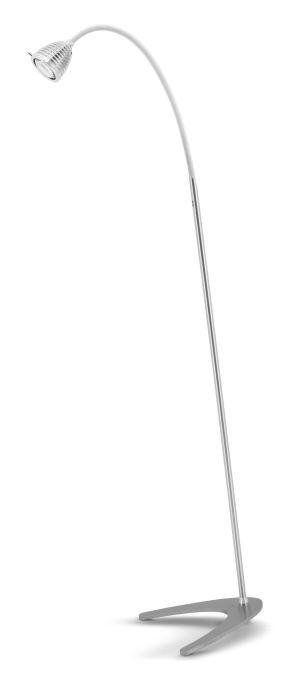 Less'n'more Athene Standleuchte A-SL Aluminium, flexibler Arm Textil weiß