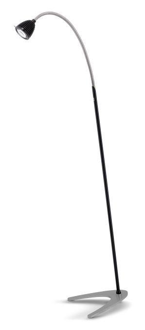 Less'n'more Athene Standleuchte A-SL schwarz, flexibler Arm Aluminium