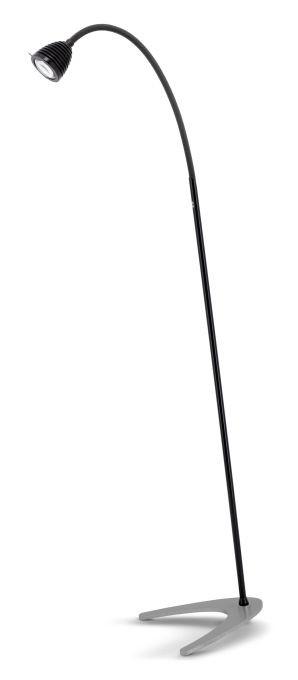 Less'n'more Athene Standleuchte A-SL schwarz, flexibler Arm Textil anthrazit