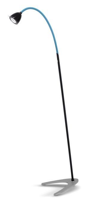 Less'n'more Athene Standleuchte A-SL schwarz, flexibler Arm Textil blau
