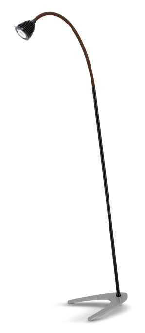 Less'n'more Athene Standleuchte A-SL schwarz, flexibler Arm Textil braun