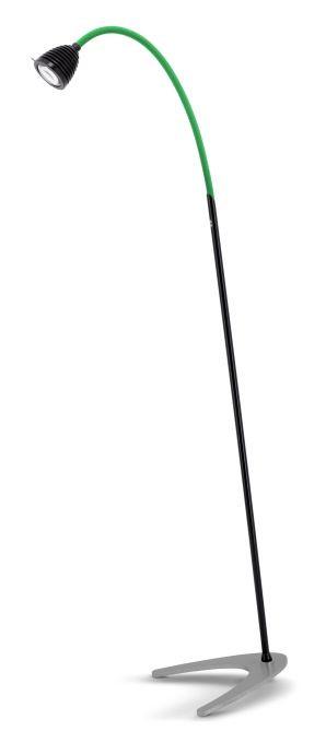 Less'n'more Athene Standleuchte A-SL schwarz, flexibler Arm Textil grün