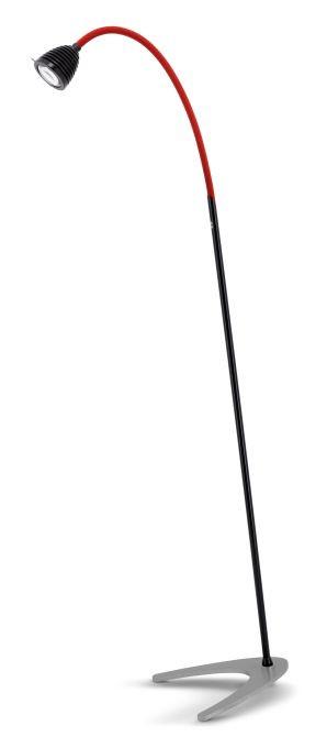 Less'n'more Athene Standleuchte A-SL schwarz, flexibler Arm Textil rot