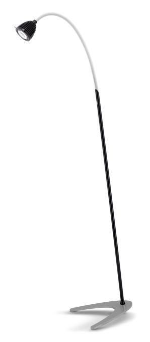 Less'n'more Athene Standleuchte A-SL schwarz, flexibler Arm Textil weiß