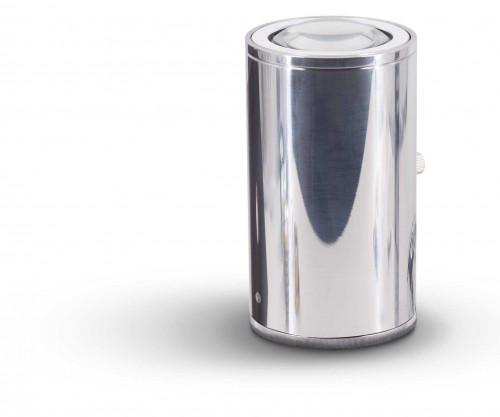 Less'n'more Athene Bodenleuchte A-BS Aluminium poliert, Kopf weiß