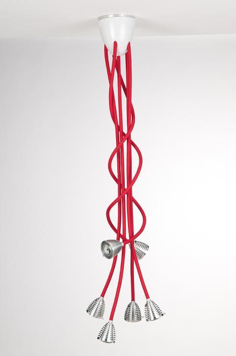 Less'n'more Athene Deckenleuchte 6 A-6DL Köpfe Aluminium, flexible Arme Textil rot