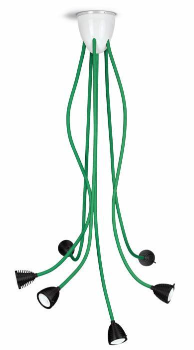 Less'n'more Athene Deckenleuchte 6 A-6DL Köpfe schwarz, flexible Arme Textil grün