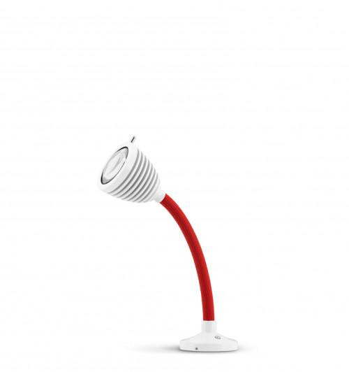 Less'n'more Athene Einbauleuchte A-AL1 weiß, flexibler Arm Textil rot