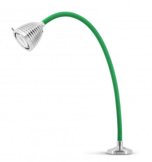 Less'n'more Athene Einbauleuchte A-AL2 Aluminium, flexibler Arm Textil grün