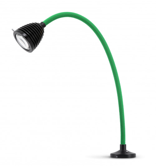 Less'n'more Athene Einbauleuchte A-AL2 schwarz, flexibler Arm Textil grün